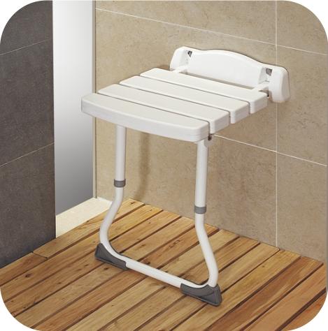 Asiento deluxe abatible de pared con patas facilita la for Asientos para duchas