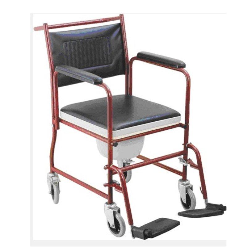 Silla con inodoro y ruedas acolchada ayuda para el aseo - Silla de ruedas con inodoro ...